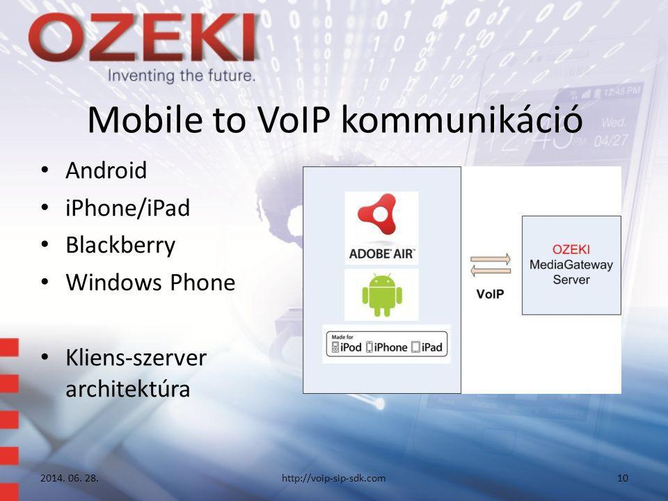 Mobile to VoIP kommunikáció • Android • iPhone/iPad • Blackberry • Windows Phone • Kliens-szerver architektúra 2014.