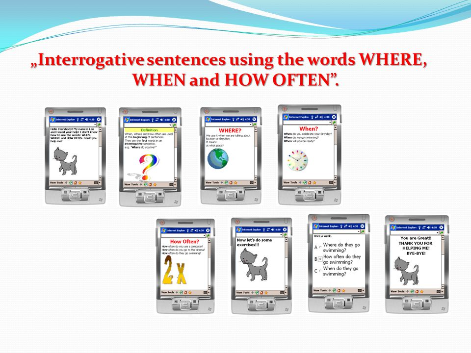 """Interrogative sentences using the words WHERE, WHEN and HOW OFTEN ."