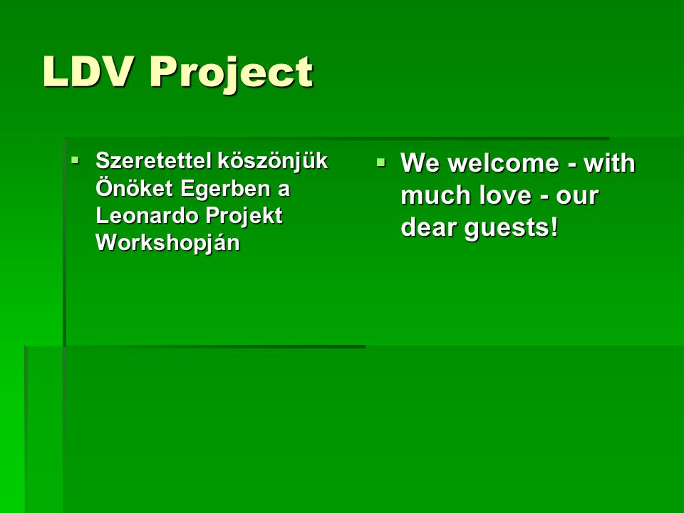 LDV Project  Szeretettel köszönjük Önöket Egerben a Leonardo Projekt Workshopján  We welcome - with much love - our dear guests!