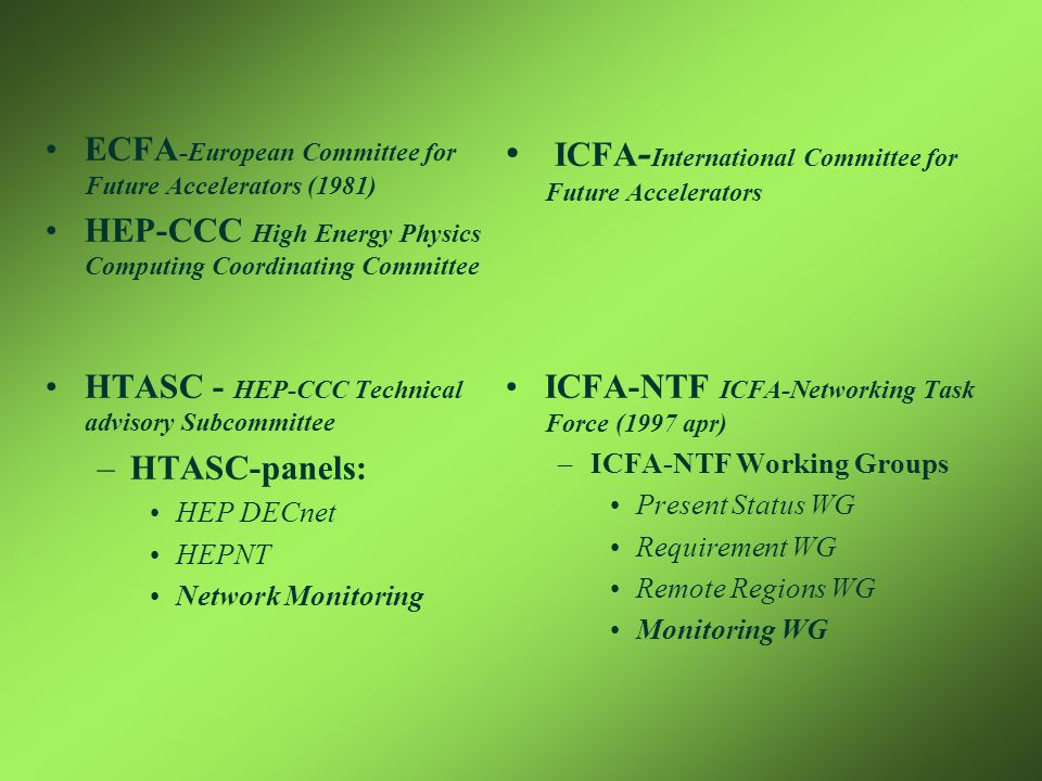 •ECFA -European Committee for Future Accelerators (1981) •HEP-CCC High Energy Physics Computing Coordinating Committee •HTASC - HEP-CCC Technical advisory Subcommittee –HTASC-panels: •HEP DECnet •HEPNT •Network Monitoring • ICFA - International Committee for Future Accelerators •ICFA-NTF ICFA-Networking Task Force (1997 apr) –ICFA-NTF Working Groups •Present Status WG •Requirement WG •Remote Regions WG •Monitoring WG