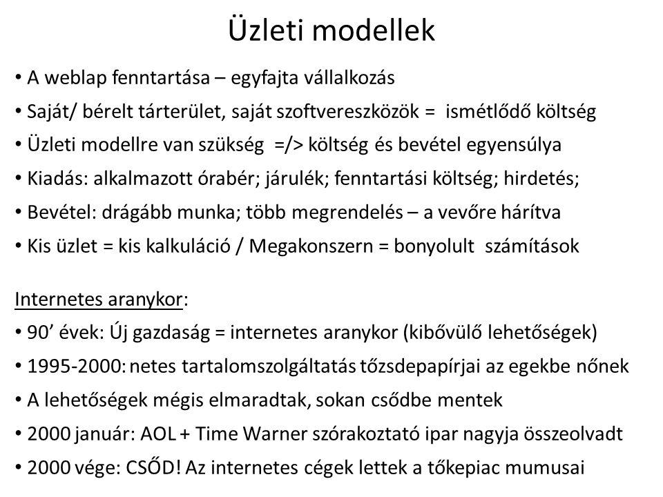 Web marketing / Elektronikus kereskedelem /Online üzleti modellek