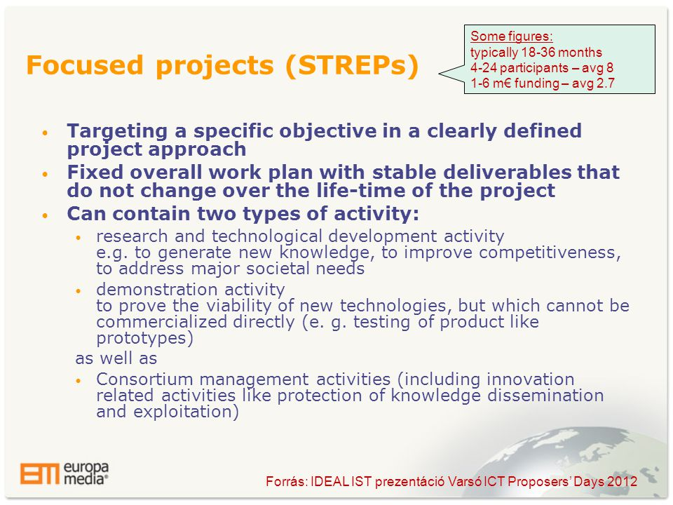 • Targeting a specific objective in a clearly defined project approach • Fixed overall work plan with stable deliverables that do not change over the life-time of the project • Can contain two types of activity: • research and technological development activity e.g.