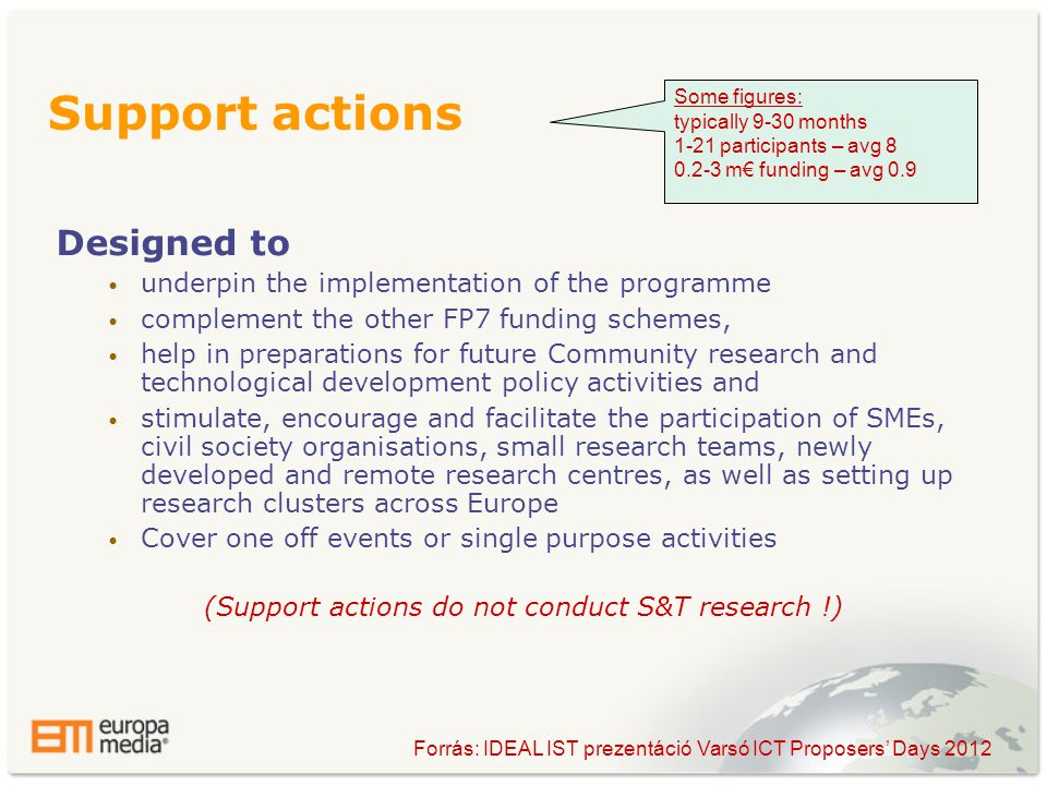 Designed to • underpin the implementation of the programme • complement the other FP7 funding schemes, • help in preparations for future Community research and technological development policy activities and • stimulate, encourage and facilitate the participation of SMEs, civil society organisations, small research teams, newly developed and remote research centres, as well as setting up research clusters across Europe • Cover one off events or single purpose activities (Support actions do not conduct S&T research !) Support actions Some figures: typically 9-30 months 1-21 participants – avg m€ funding – avg 0.9 Forrás: IDEAL IST prezentáció Varsó ICT Proposers' Days 2012