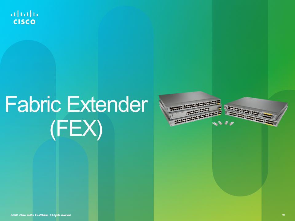 © 2011 Cisco and/or its affiliates. All rights reserved. 10 Fabric Extender (FEX)
