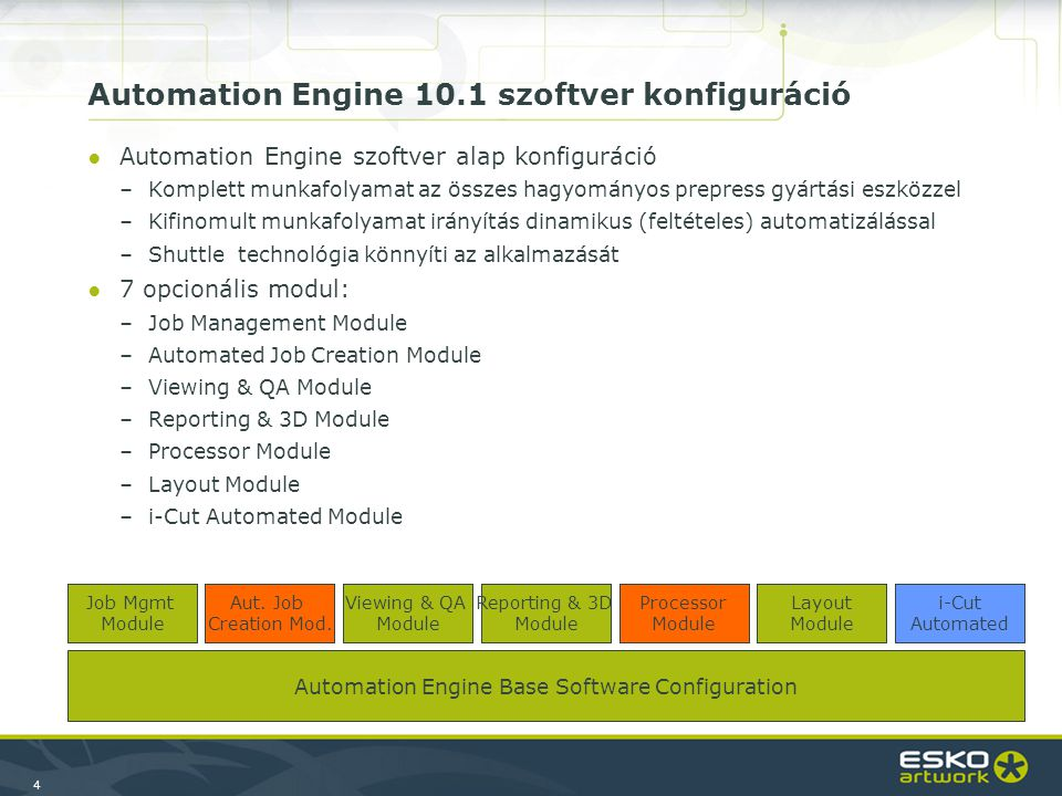 4 Automation Engine Base Software Configuration Job Mgmt Module Automation Engine 10.1 szoftver konfiguráció ●Automation Engine szoftver alap konfiguráció –Komplett munkafolyamat az összes hagyományos prepress gyártási eszközzel –Kifinomult munkafolyamat irányítás dinamikus (feltételes) automatizálással –Shuttle technológia könnyíti az alkalmazását ●7 opcionális modul: –Job Management Module –Automated Job Creation Module –Viewing & QA Module –Reporting & 3D Module –Processor Module –Layout Module –i-Cut Automated Module Viewing & QA Module Reporting & 3D Module Processor Module Layout Module i-Cut Automated Aut.
