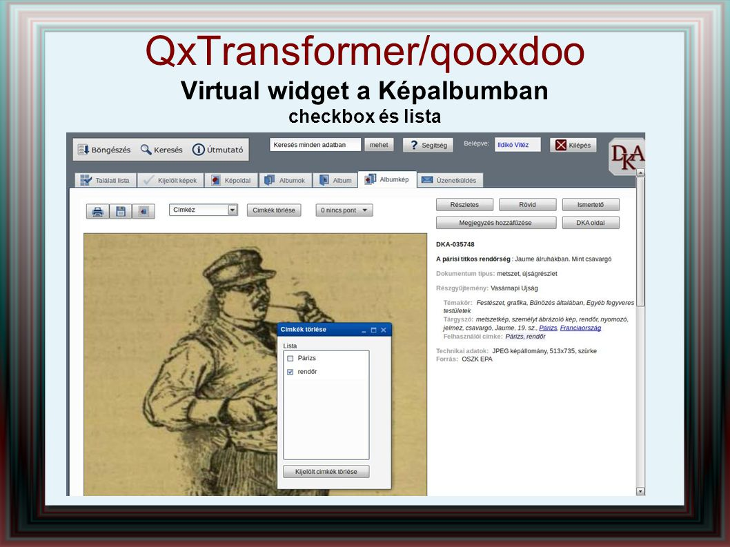QxTransformer/qooxdoo Virtual widget a Képalbumban checkbox és lista