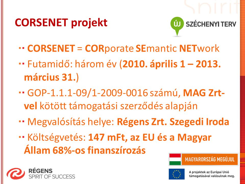 CORSENET projekt CORSENET = CORporate SEmantic NETwork Futamidő: három év (2010.