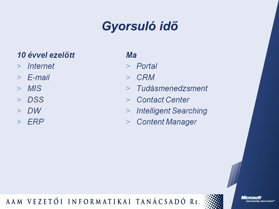 10 évvel ezelőtt  Internet    MIS  DSS  DW  ERP Ma  Portal  CRM  Tudásmenedzsment  Contact Center  Intelligent Searching  Content Manager