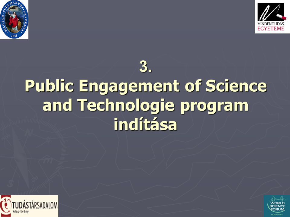 3. Public Engagement of Science and Technologie program indítása