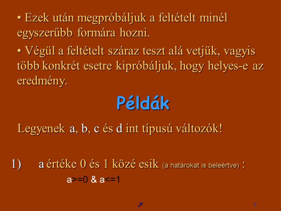 száraz log logikai teszt)