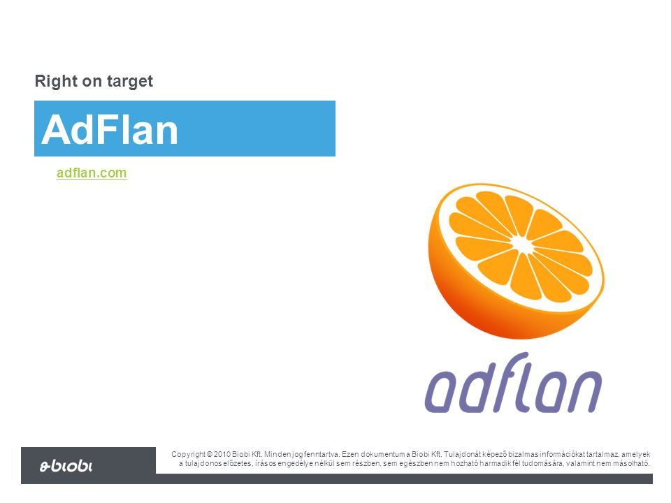 biobi.eu AdFlan Right on target adflan.com Copyright © 2010 Biobi Kft.
