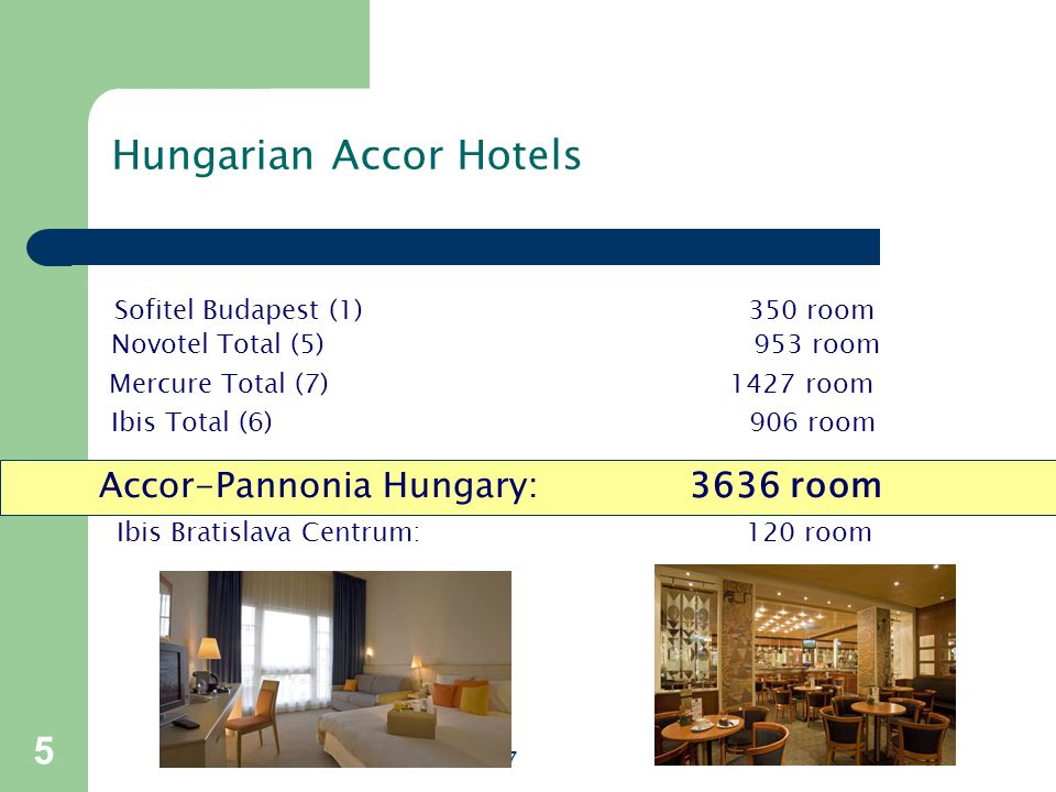 Sofitel Budapest (1)350 room Hungarian Accor Hotels Novotel Total (5) 953 room Mercure Total (7) 1427 room Ibis Total (6) 906 room Accor-Pannonia Hungary: 3636 room Ibis Bratislava Centrum: 120 room