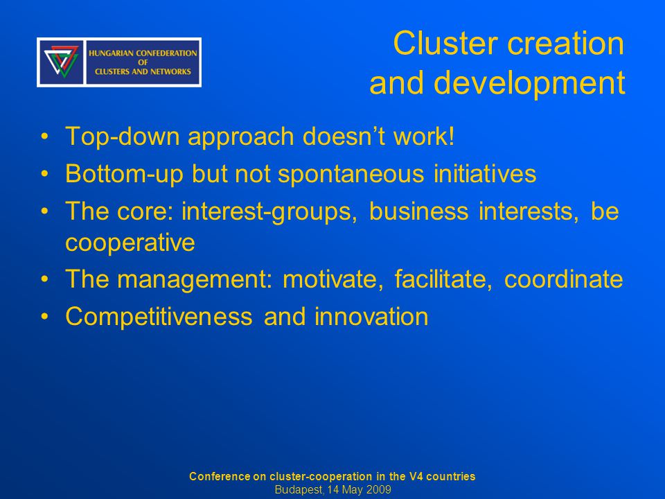 Cluster creation and development Top-down approach doesn't work.