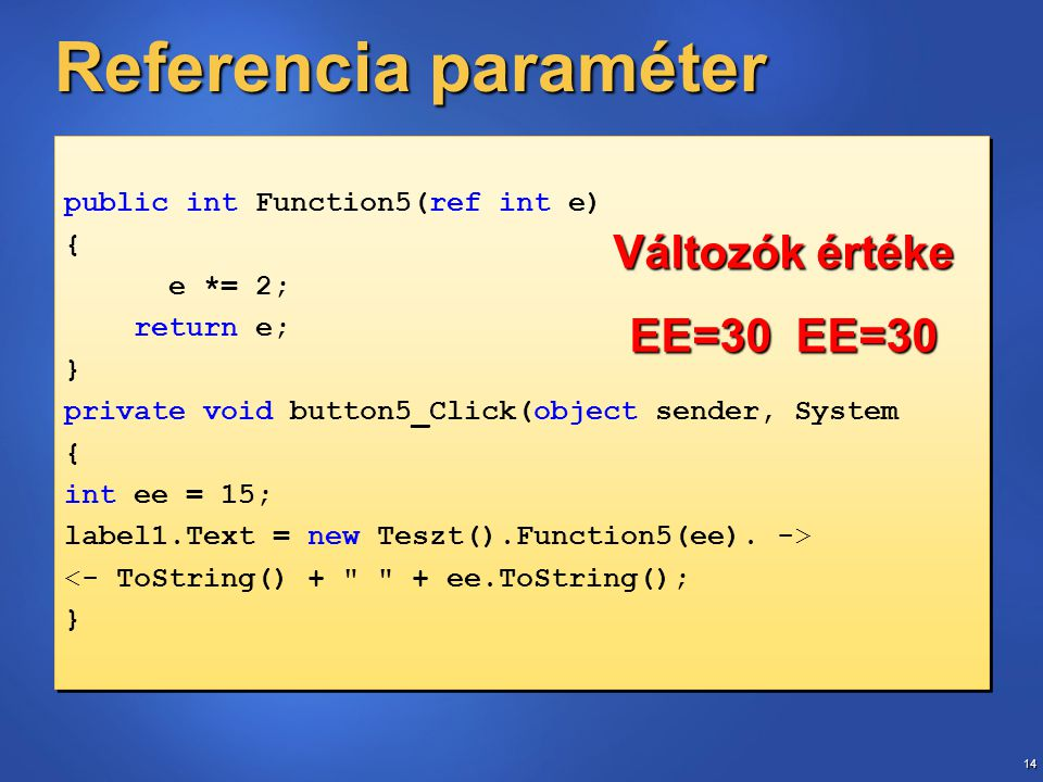 14 Referencia paraméter public int Function5(ref int e) { e *= 2; return e; } private void button5_Click(object sender, System { int ee = 15; label1.Text = new Teszt().Function5(ee).