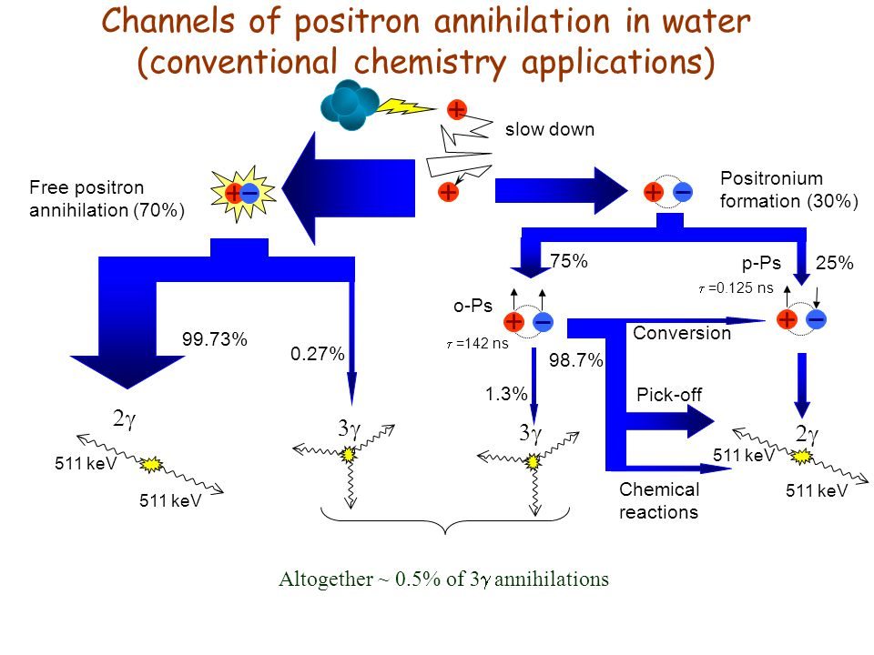 Channels of positron annihilation in water (conventional chemistry applications) Free positron annihilation (70%) Positronium formation (30%) p-Ps o-Ps  511 keV 25% 75%   =0.125 ns  =142 ns slow down 0.27% 511 keV 99.73% 98.7% 1.3% Chemical reactions Conversion Pick-off Altogether ~ 0.5% of 3  annihilations  