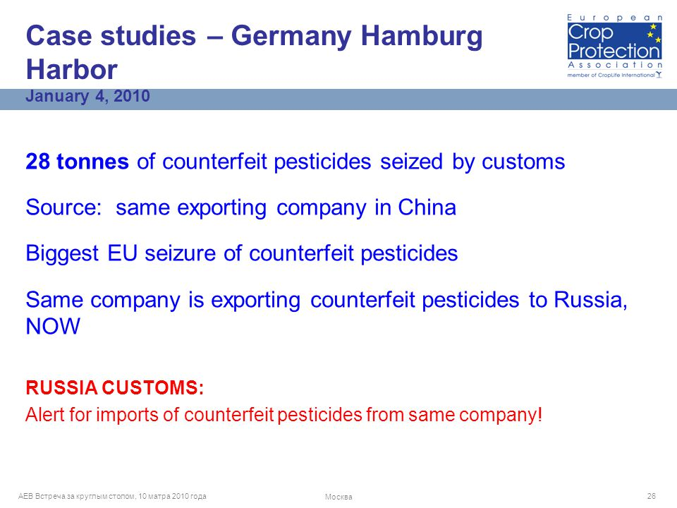 AEB Встреча за круглым столом, 10 матра 2010 года Москва 26 28 tonnes of counterfeit pesticides seized by customs Source: same exporting company in China Biggest EU seizure of counterfeit pesticides Same company is exporting counterfeit pesticides to Russia, NOW RUSSIA CUSTOMS: Alert for imports of counterfeit pesticides from same company.