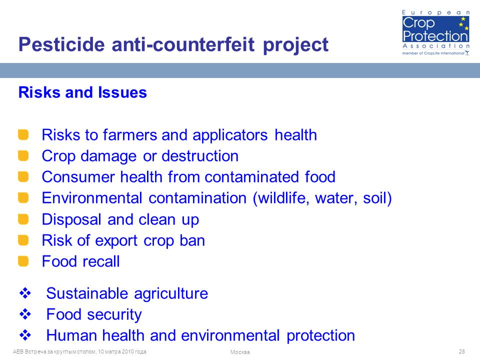 AEB Встреча за круглым столом, 10 матра 2010 года Москва 28 Risks and Issues Risks to farmers and applicators health Crop damage or destruction Consumer health from contaminated food Environmental contamination (wildlife, water, soil) Disposal and clean up Risk of export crop ban Food recall  Sustainable agriculture  Food security  Human health and environmental protection Pesticide anti-counterfeit project
