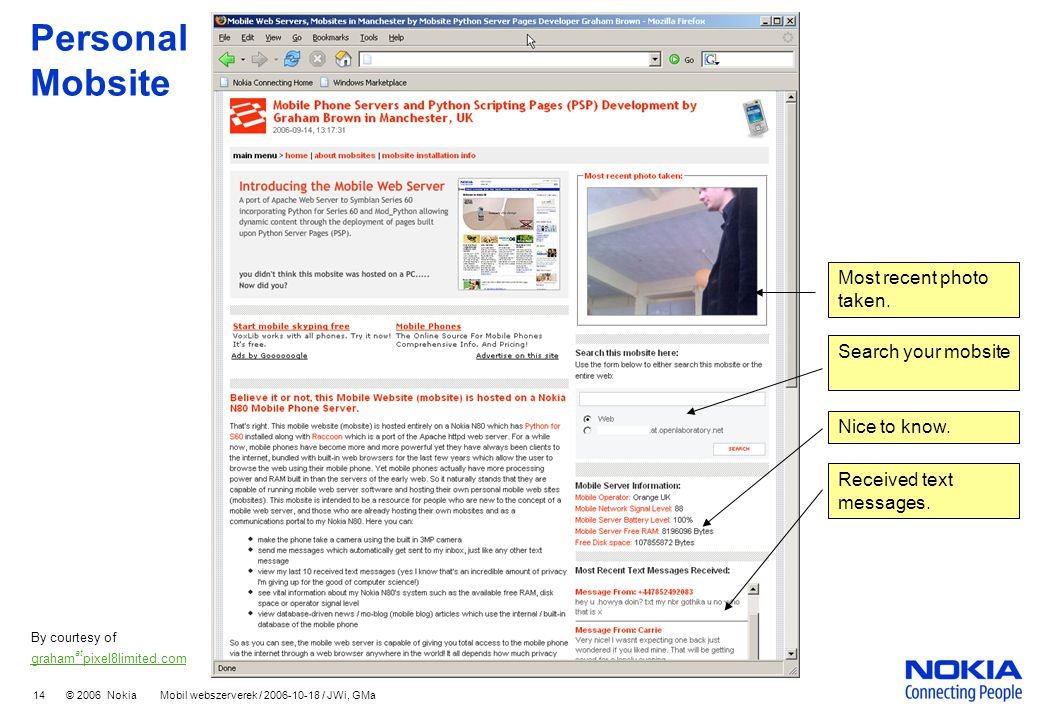 14 © 2006 Nokia Mobil webszerverek / 2006-10-18 / JWi, GMa Personal Mobsite By courtesy of graham at pixel8limited.com Most recent photo taken.