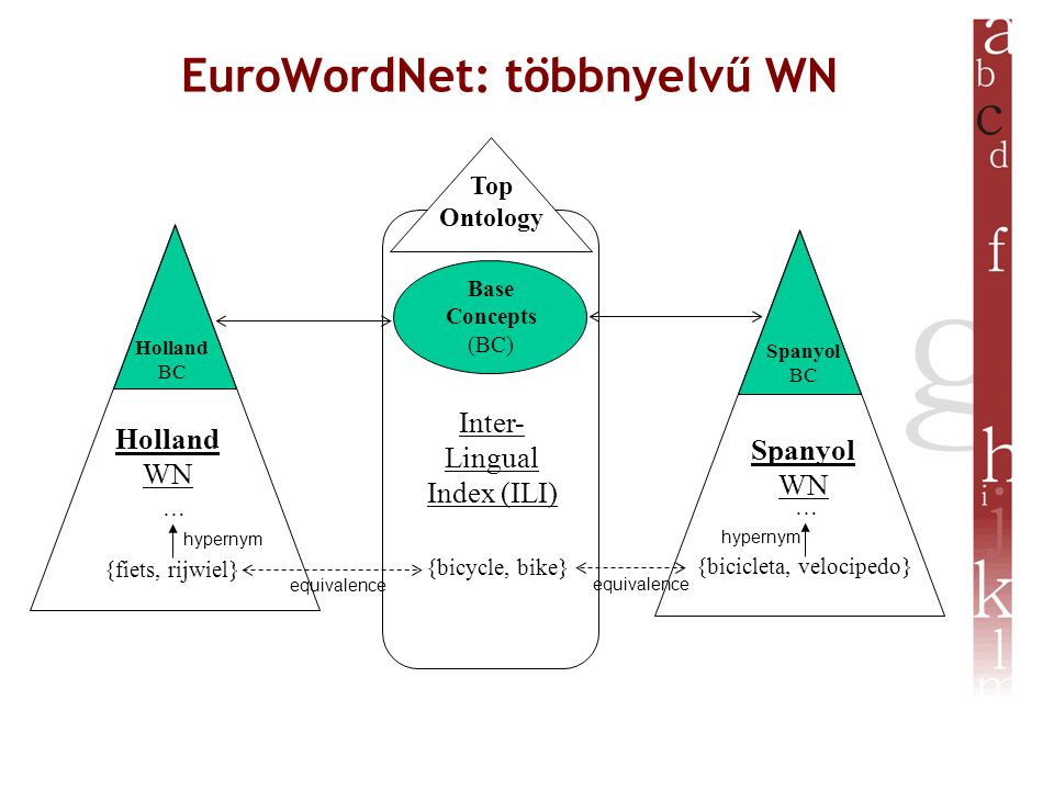 EuroWordNet: többnyelvű WN Inter- Lingual Index (ILI) Base Concepts (BC) Top Ontology {bicycle, bike} Holland WN Spanyol WN {fiets, rijwiel} {bicicleta, velocipedo} equivalence … … hypernym Holland BC Spanyol BC