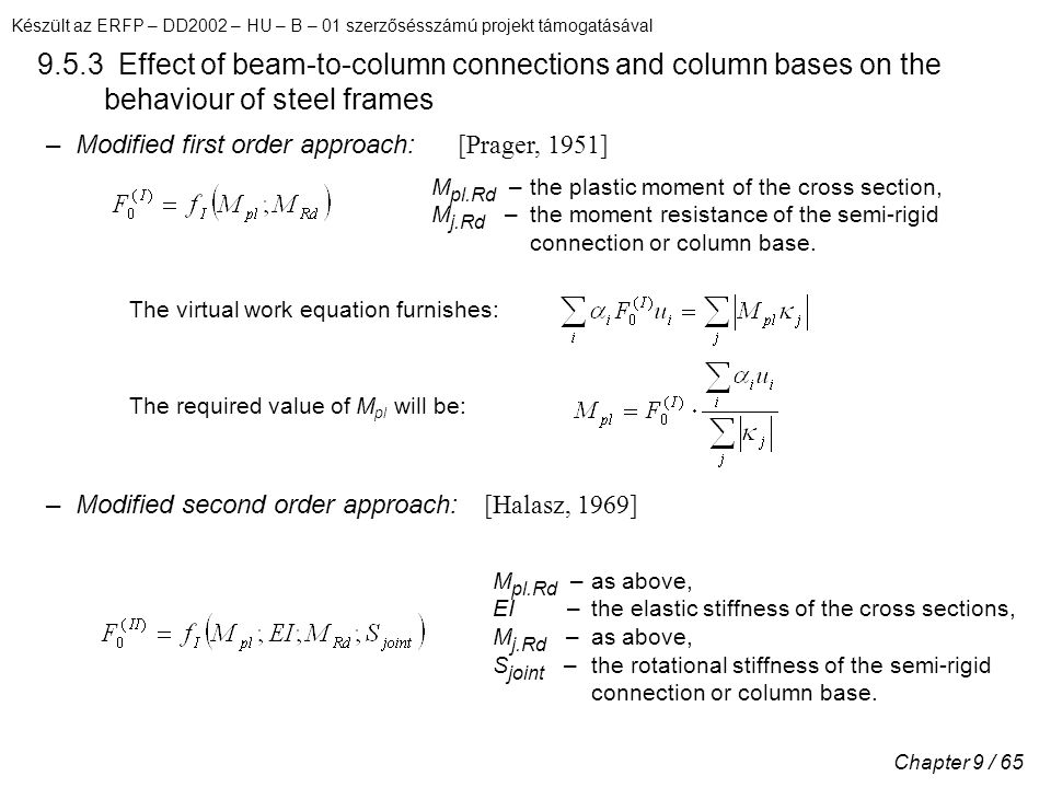 Készült az ERFP – DD2002 – HU – B – 01 szerzősésszámú projekt támogatásával Chapter 9 / 65 9.5.3 Effect of beam-to-column connections and column bases on the behaviour of steel frames – Modified first order approach: M pl.Rd – the plastic moment of the cross section, M j.Rd – the moment resistance of the semi-rigid connection or column base.