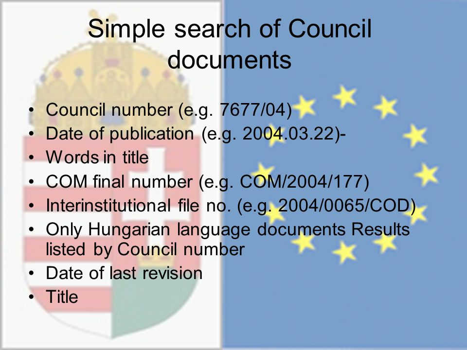 Simple search of Council documents Council number (e.g.