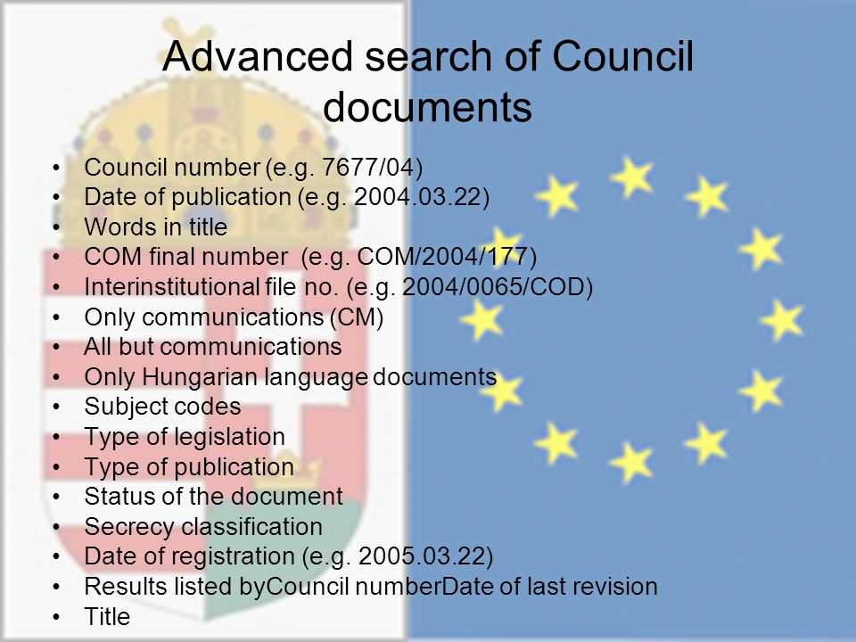Advanced search of Council documents Council number (e.g.