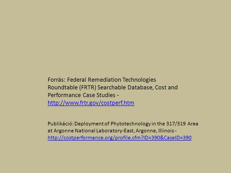 Forrás: Federal Remediation Technologies Roundtable (FRTR) Searchable Database, Cost and Performance Case Studies - http://www.frtr.gov/costperf.htm http://www.frtr.gov/costperf.htm Publikáció: Deployment of Phytotechnology in the 317/319 Area at Argonne National Laboratory-East, Argonne, Illinois - http://costperformance.org/profile.cfm ID=390&CaseID=390 http://costperformance.org/profile.cfm ID=390&CaseID=390