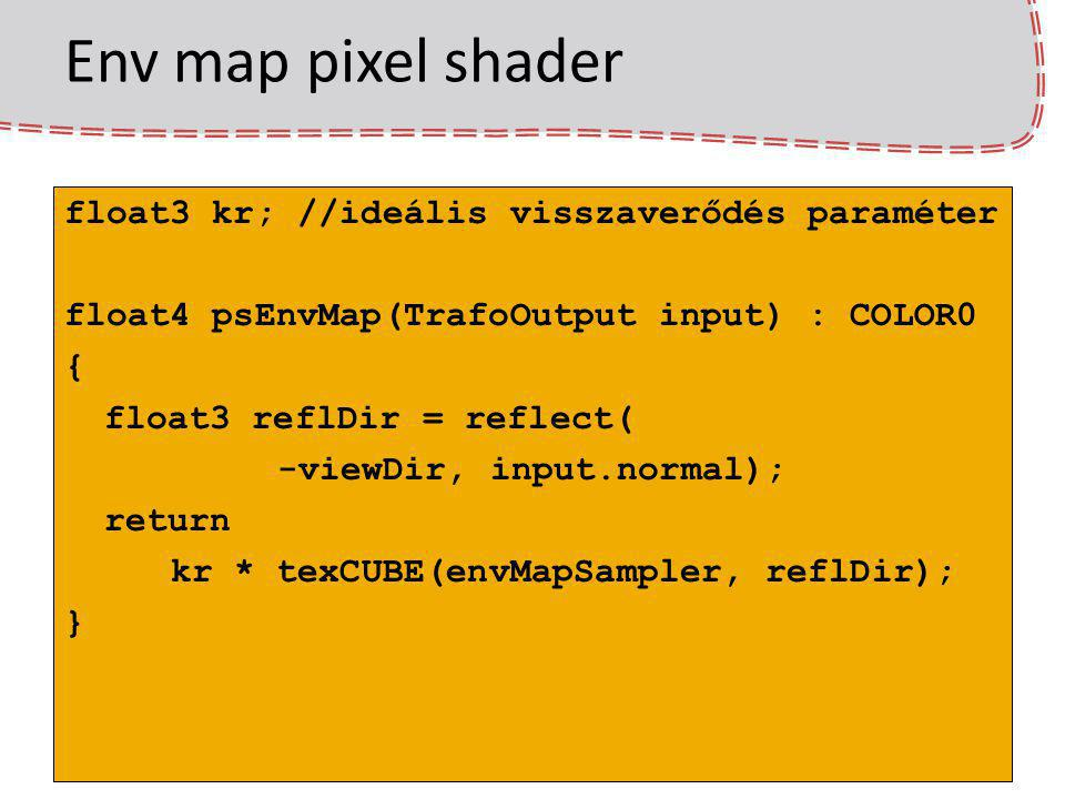 Env map pixel shader float3 kr; //ideális visszaverődés paraméter float4 psEnvMap(TrafoOutput input) : COLOR0 { float3 reflDir = reflect( -viewDir, input.normal); return kr * texCUBE(envMapSampler, reflDir); }