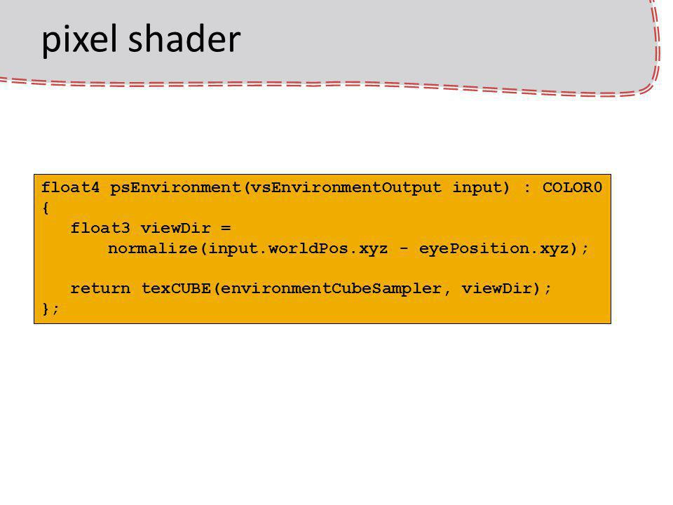 pixel shader float4 psEnvironment(vsEnvironmentOutput input) : COLOR0 { float3 viewDir = normalize(input.worldPos.xyz - eyePosition.xyz); return texCUBE(environmentCubeSampler, viewDir); };